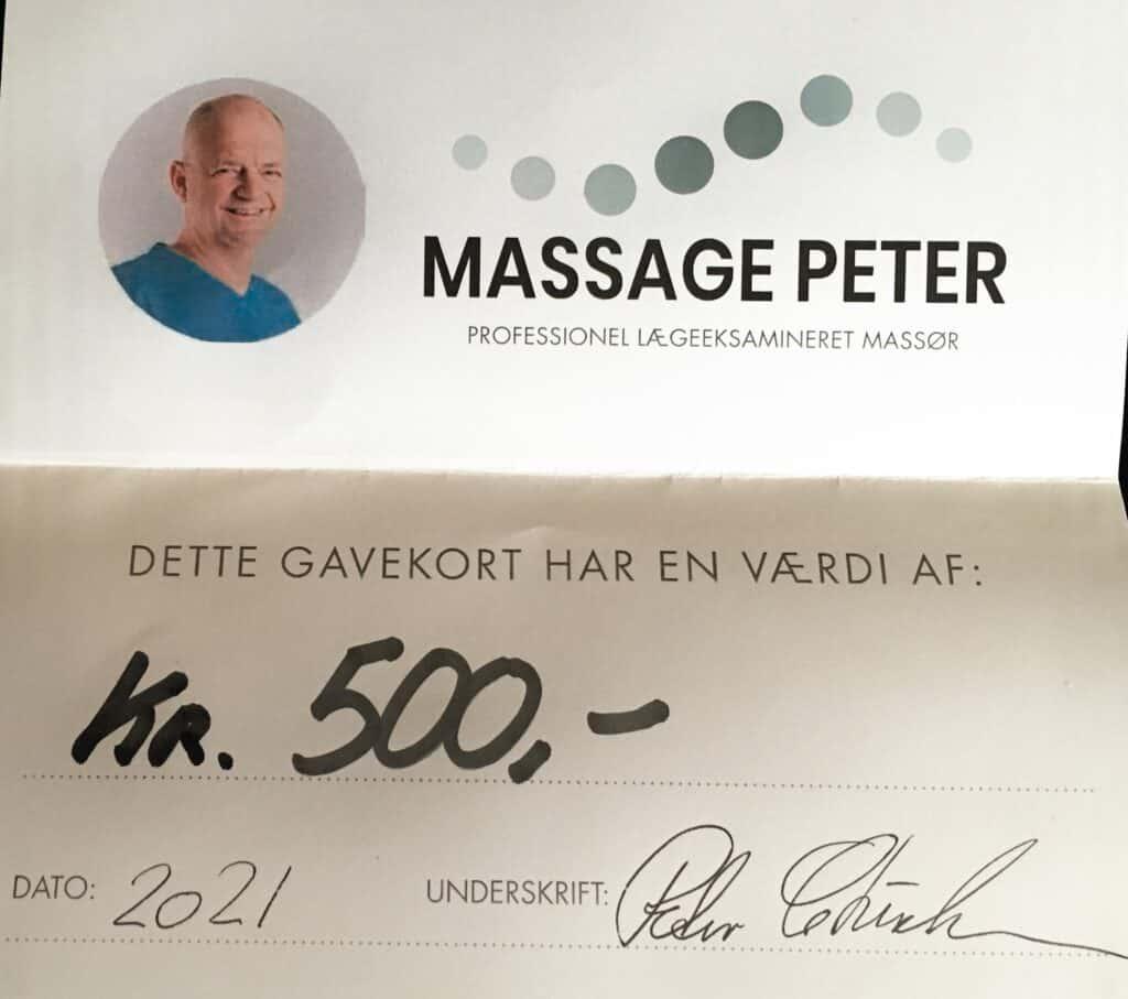 Gavekort på 500 kr til massage
